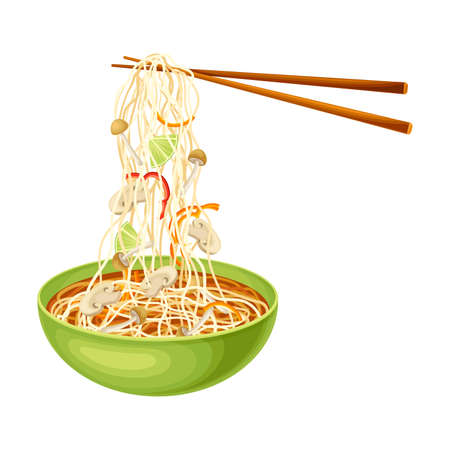 Thick Broth with Noodles and Mushrooms as Asian Savoury Soup Served in Bowl with Chopsticks Vector Illustration