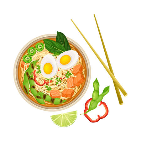 Thick Broth with Seafood, Boiled Egg and Noodles as Asian Savoury Soup Served in Bowl with Chopsticks Above View Vector Illustration