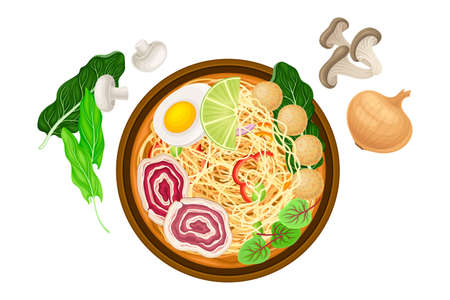 Broth or Soup with Noodles and Meatballs as Asian Savoury Soup Served in Bowl Above View Vector Illustration