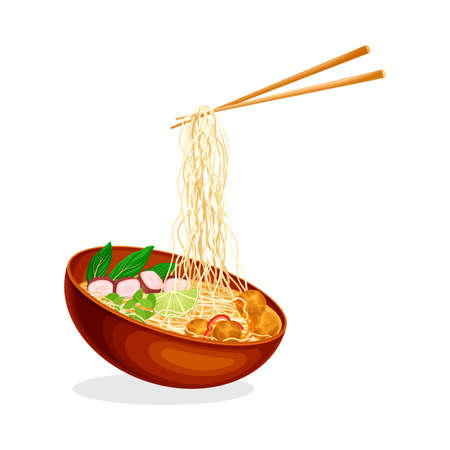 Asian Broth or Soup in Bowl with Chopsticks Holding Noodles Vector Illustration
