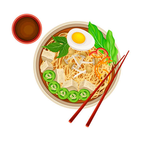 Asian Savoury Soup with Noodles, Tofu and Boiled Egg in Bowl with Chopsticks Above View Vector Illustration
