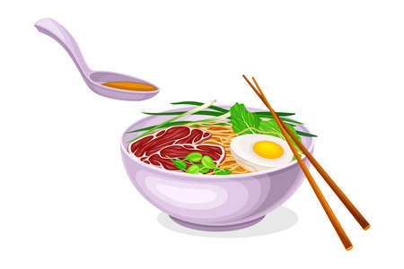 Asian Savoury Soup with Noodles and Boiled Egg in Bowl with Chopsticks Vector Illustration Vettoriali