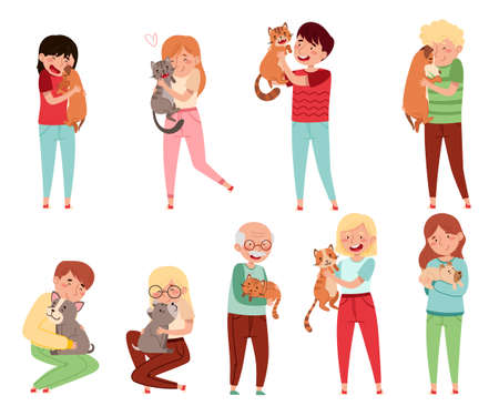 People Characters with Cat and Dog Companion Vector Illustration Set Ilustrace
