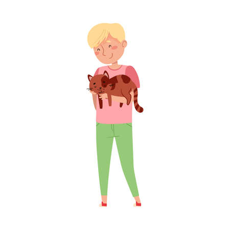 Young Boy Holding His Cat Pet and Stroking It Vector Illustration
