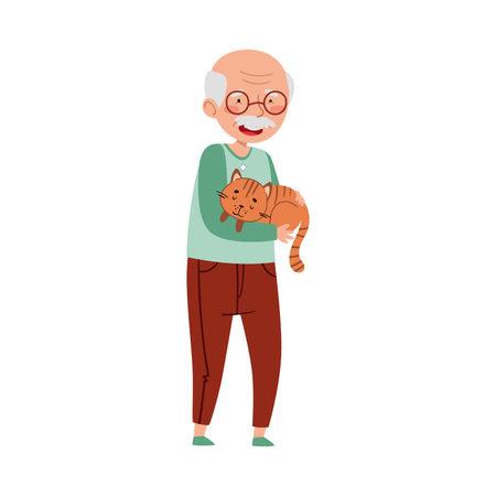 Senior Man Holding His Cat Pet with Arms Vector Illustration Ilustración de vector
