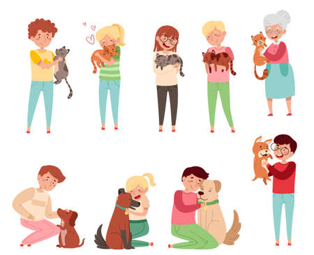 People Characters with Cat and Dog Companion Vector Illustration Set Vettoriali