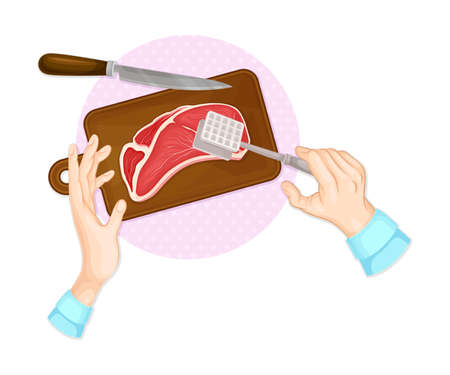 Hands Beating Beef Steak with Meat Pounder on Cutting Board Table Above View Vector Illustration
