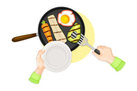 Hands Preparing Grilled Vegetables on Frying Pan Above View Vector Illustration