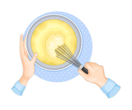 Human Hands Beating Dough with Wire Whisk Above View Vector Illustration