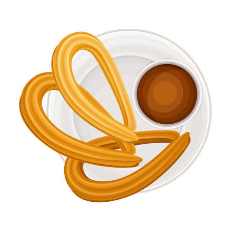 Churro or Fried-dough Pastry with Chocolate as Sugary Dessert on Plate Vector Illustration 向量圖像