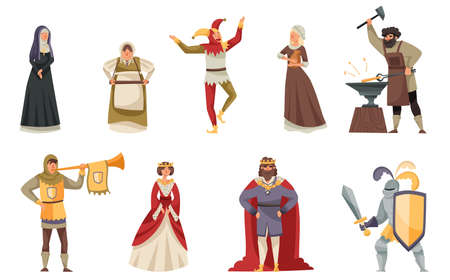 Medieval People Characters with Herald, King in Mantle and Blacksmith Vector Illustration Set Vettoriali