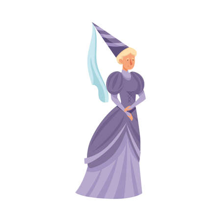 Medieval Gentlewoman or Maid with Pointed Hat in Standing Pose Vector Illustration