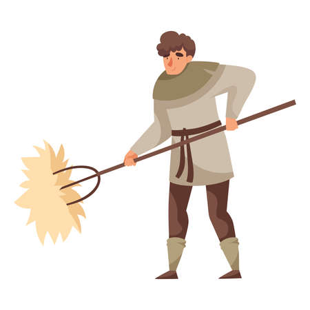 Young Medieval Male Peasant Carrying Hay with Rake Vector Illustration