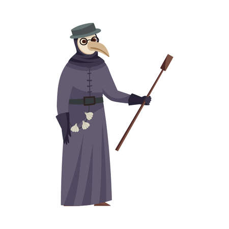 Medieval Plague Doctor with Beak and Long Gown Vector Illustration