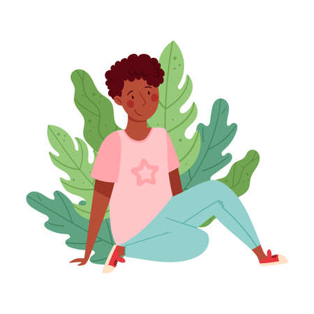 African American Man Sitting on the Ground with Floral Leaves Behind Vector Illustration
