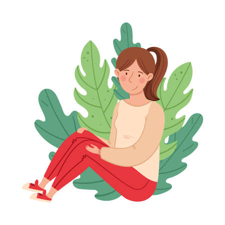 Woman with Ponytail Sitting on the Ground with Floral Leaves Behind Vector Illustration