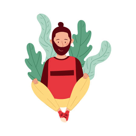 Bearded Man Sitting on the Ground with Floral Leaves Behind Vector Illustration