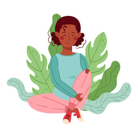 African American Woman Sitting on the Ground with Floral Leaves Behind Vector Illustration Ilustrace