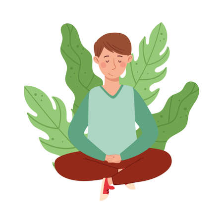 Young Cross-legged Boy Sitting on the Ground with Floral Leaves Behind Vector Illustration