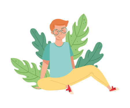 Redhead Man in Glasses Sitting on the Ground with Floral Leaves Behind Vector Illustration