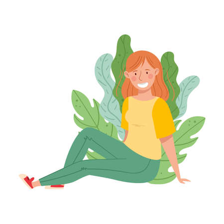 Young Redhead Female Resting Outdoor in Sitting Pose with Green Foliage Behind Vector Illustration Ilustrace