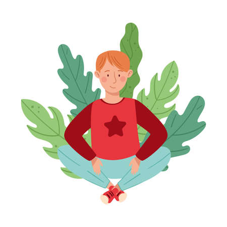 Young Redhead Male Resting Outdoor in Sitting Pose with Green Foliage Behind Vector Illustration