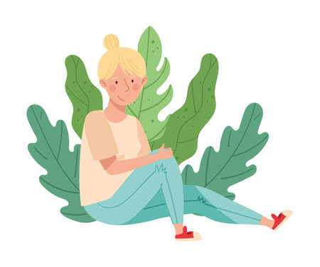 Young Blond Female Resting Outdoor in Sitting Pose with Green Foliage Behind Vector Illustration Ilustrace