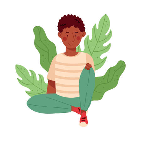 Young African American Male Resting Outdoor in Sitting Pose with Green Foliage Behind Vector Illustration