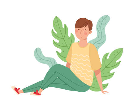 Young Man Sitting on the Ground with Floral Leaves Behind Vector Illustration