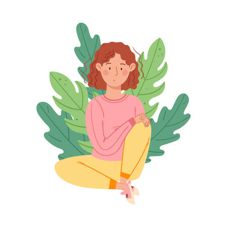 Thoughtful Female Sitting on the Ground with Floral Leaves Behind Vector Illustration Ilustrace