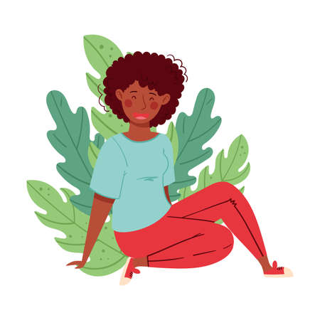African American Woman Sitting on the Ground with Folded Legs Leaning on Arm Vector Illustration