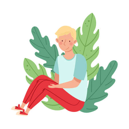 Blond Male Sitting on the Ground with Bending Knees and Floral Leaves Behind Vector Illustration