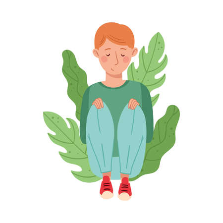 Redhead Male Sitting on the Ground with Bending Knees and Floral Leaves Behind Vector Illustration