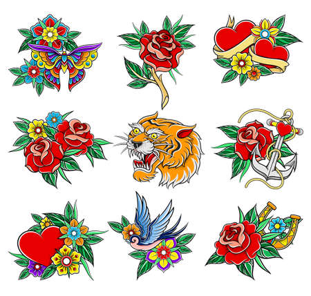 Old School Badges with Tiger and Red Rose Symbols Vector Set