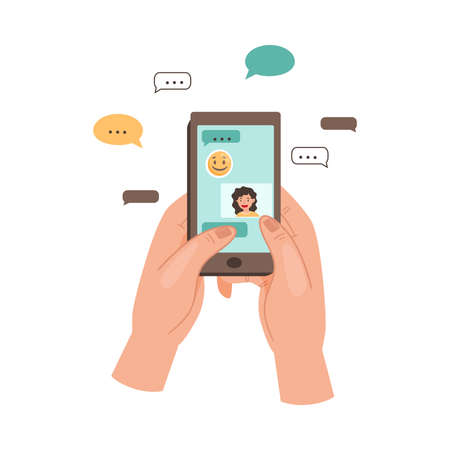 Hand Holding Phone Text Messaging and Chatting in App Using Internet Vector Illustration