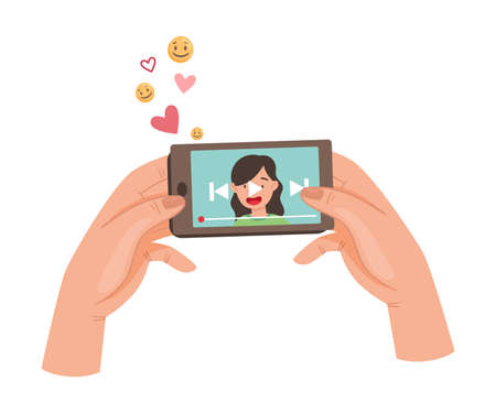 Hand Holding Phone Watching Video or Vlog in the App Using Internet Vector Illustration
