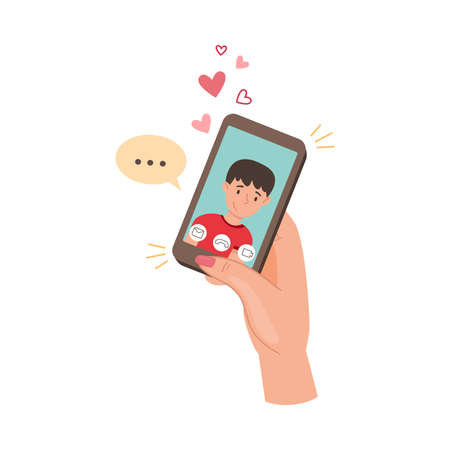Hand Engaged in Video Call Using Phone App Vector Illustration