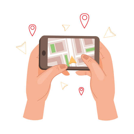 Hand Holding Phone with Navigator App Showing Route Vector Illustration  イラスト・ベクター素材
