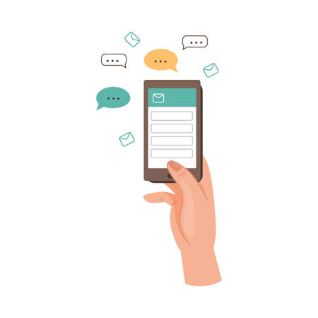 Human Hand with Smartphone Sending Email and Text Messaging in the Internet Vector Illustration