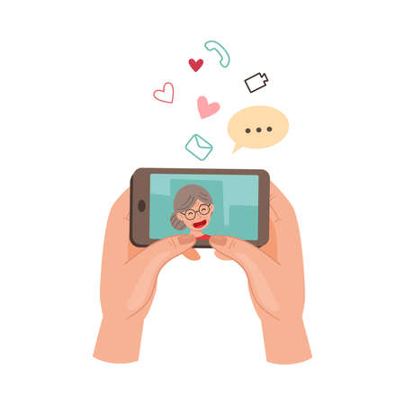 Human Hand with Smartphone Watching Vlog or Video in the Internet Vector Illustration