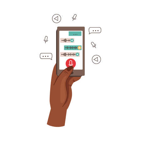 Human Hand with Smartphone Recording Voice Message in the App Vector Illustration  イラスト・ベクター素材