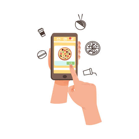 Smartphone Hold by Human Hand Ordering Pizza in the Internet Restaurant Vector Illustration  イラスト・ベクター素材
