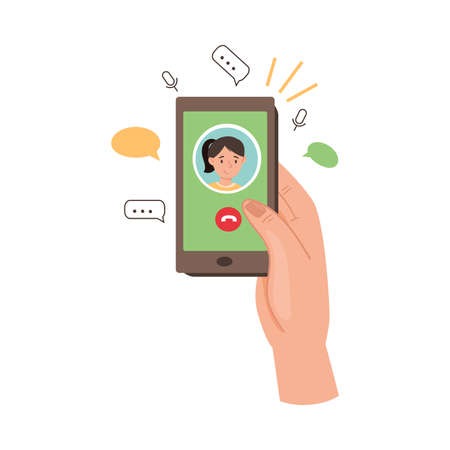 Smartphone Hold by Human Hand Voice Calling in Social Media App Vector Illustration
