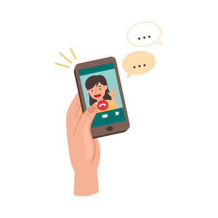 Smartphone Hold by Human Hand Video Calling in Social Media App Vector Illustration