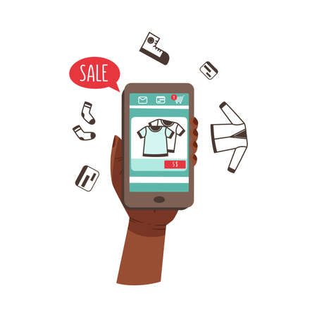 Hand Holding Phone Making Internet Purchase and Order Vector Illustration