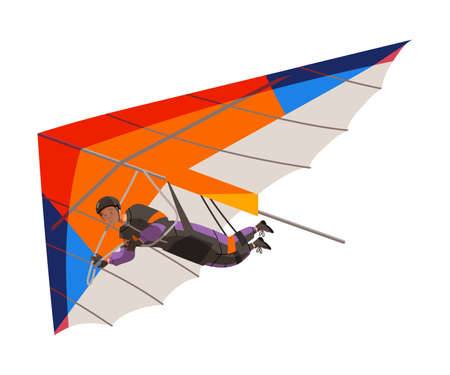 Man Flying Hang Glider as Skydiving Extreme Sport Activity Vector Illustration