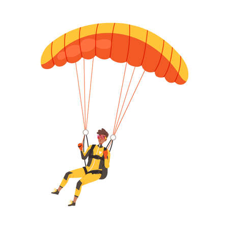 Man Flying Paraglider Descenting Using Parachute Vector Illustration Vettoriali