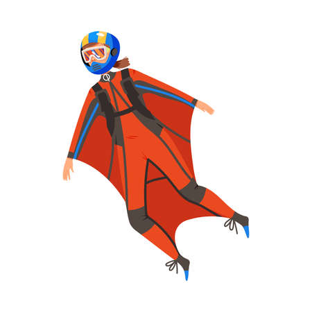 Woman Wingsuit Flying or Wingsuiting as Skydiving Extreme Sport Activity Vector Illustration