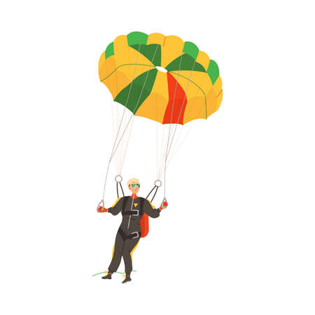 Parachuting Man Paratrooper Descenting Using Parachute Vector Illustration