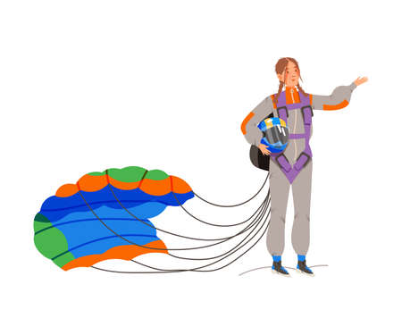 Smiling Woman Sky Diver Landing with Parachute Vector Illustration Vettoriali